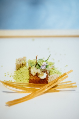 TTK Drought Menu - Hot smoked trout, buckwheat blini, watercress snow, yuzu jellies - photo Andy Lund (HR) 2