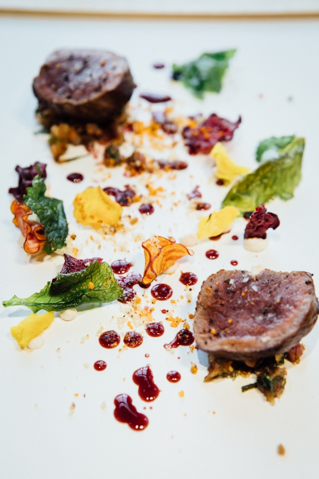 TTK Drought Menu - Pan seared springbok loin - beetroot and bone marrow stuffing, hazelnut curd, cocoa nib and beetroot extraction - photo Andy Lund (HR) 2